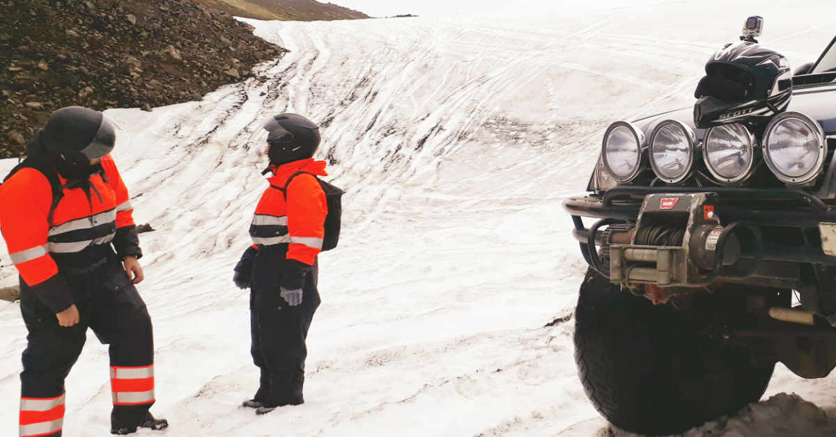 Getting ready for Snowmobiling at Eyjafjallajökull