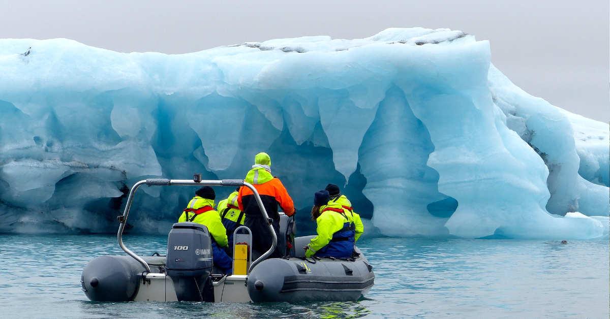 Zodiac boat tour in Glacier lagoon Iceland